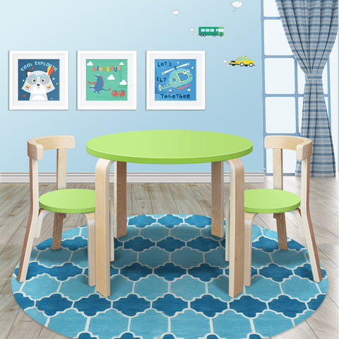 0.001 New Modern Stylish Kids Table Chairs Round Wooden Set in Lime Green Colour