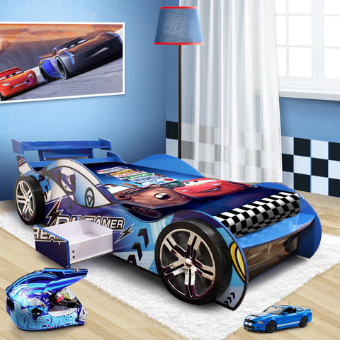 "2018 ""Dreamer"" Children Toddler Kids Racing Racer Car Bed For Boy Boys in Blue"