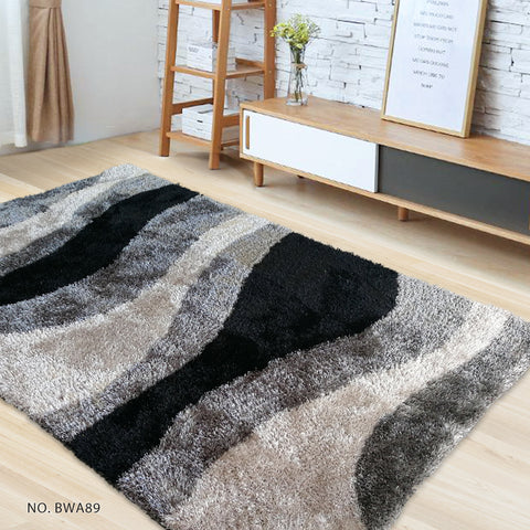 Black White Grey - Modern Soft Thick Shaggy Non Shed Rugs