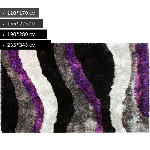 Purple Black White Grey Soft Thick Shag Non Shed Rugs