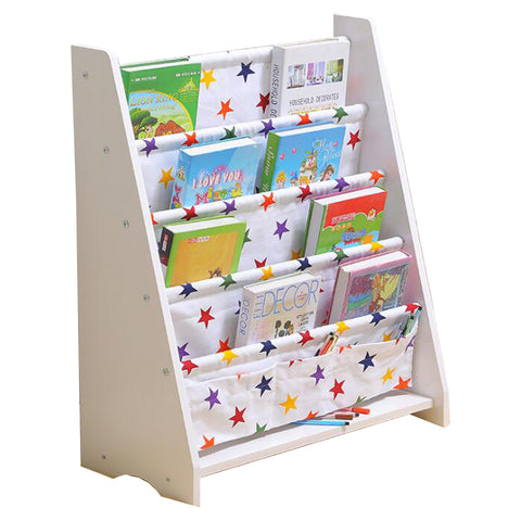 Little Star White Kids Wooden Canvas Bookcase
