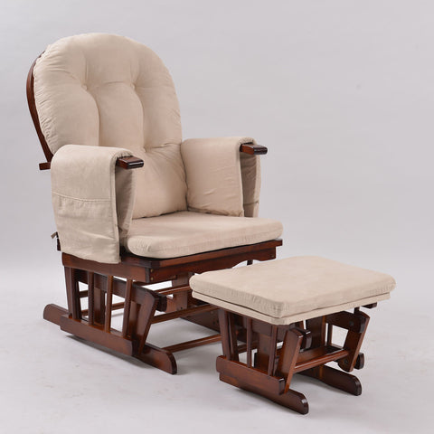 Baby Breast Feeding Sliding Glider Rocking Chair with Ottoman - Walnut - OliandOla