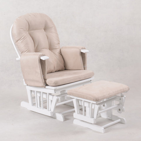 Baby Breast Feeding Sliding Glider Rocking Chair with Ottoman - White - OliandOla