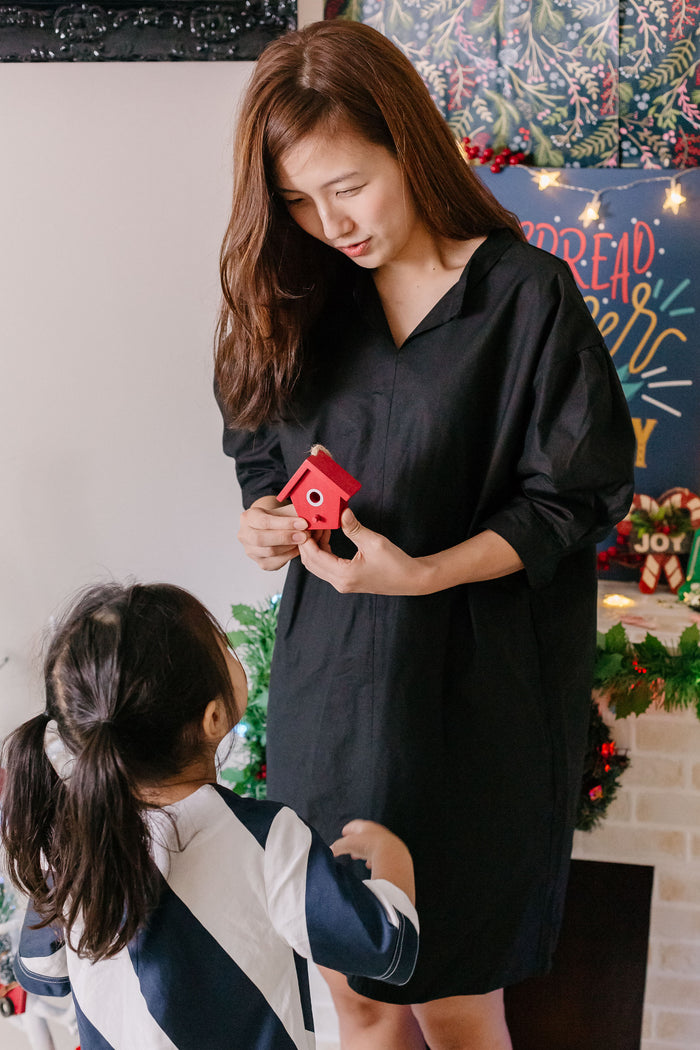 Button Shirt Dress Black