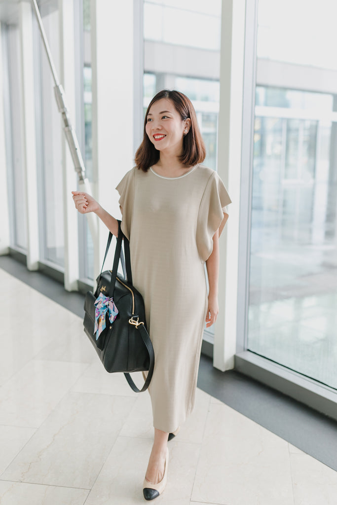 Batwing Sleeve Dress (Wheat/Black)