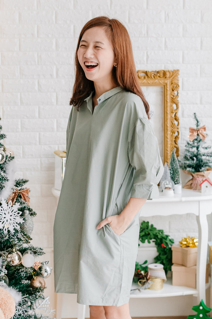 Button Shirt Dress Mint