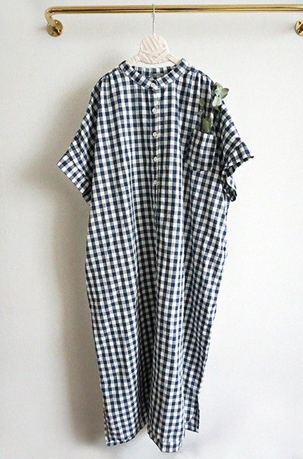 Linen Checkered Dress with front button (Navy/ Beige) (Woman/ Kid)