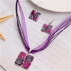 Quilters Block Necklace & Earrings Set