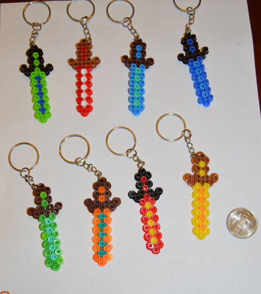 Sword party favors - Boy colors - Set of 8 keychains or zipper pulls