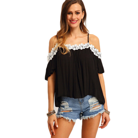 Black Cold Shoulder Lace Patchwork Loose Blouse - Chic128