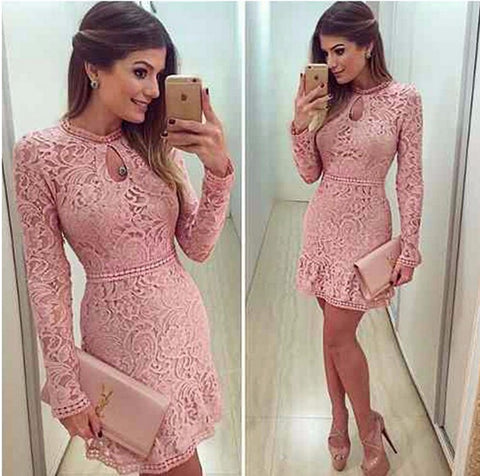 Fashion Sexy Long Sleeve Pink Lace Dress - Chic128