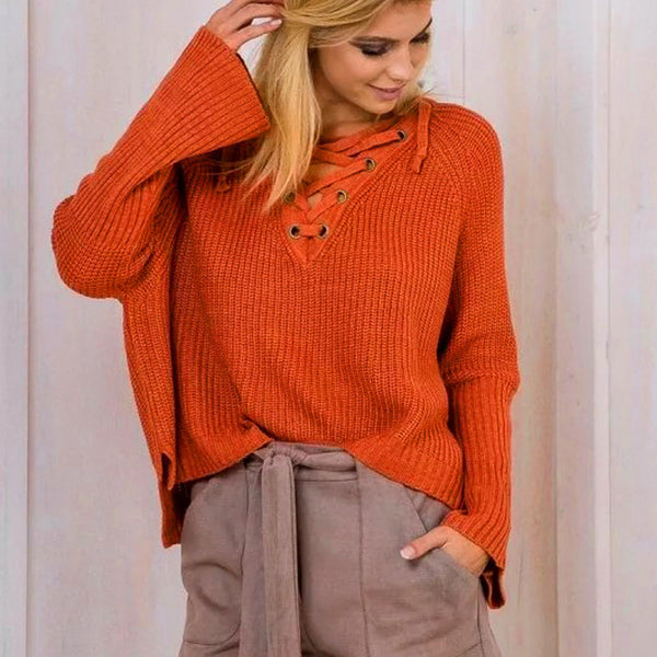LACE UP SWEATER - Chic128