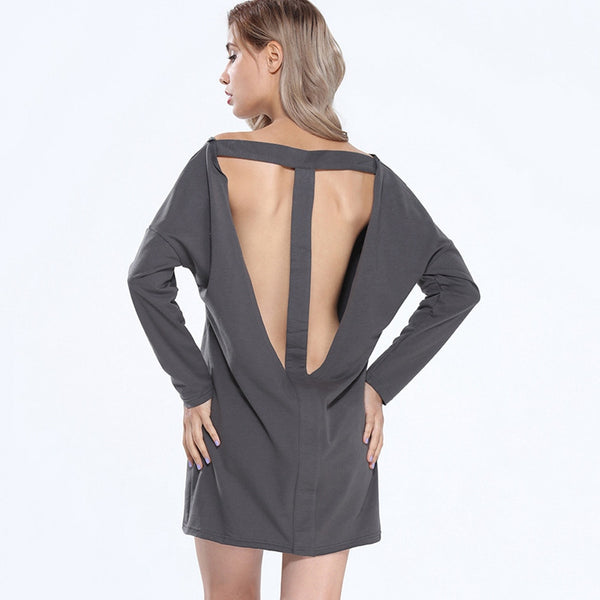 Long Sleeve Hollow Out Sweatshirt Dress - Chic128