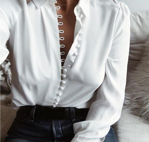 Solid Collar Long Sleeve Blouses - Chic128