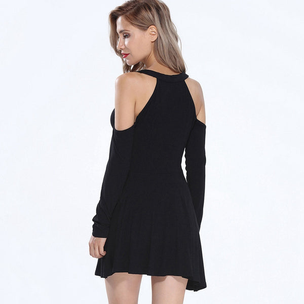 Sexy Off Shoulder Long Sleeves O-Neck Flare Dress - Chic128