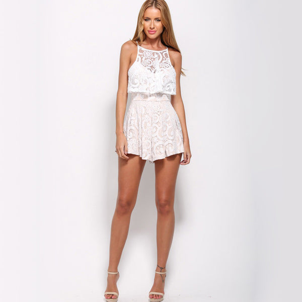 Hollow Out Sleeveless Lace Elegant Jumpsuit - Chic128