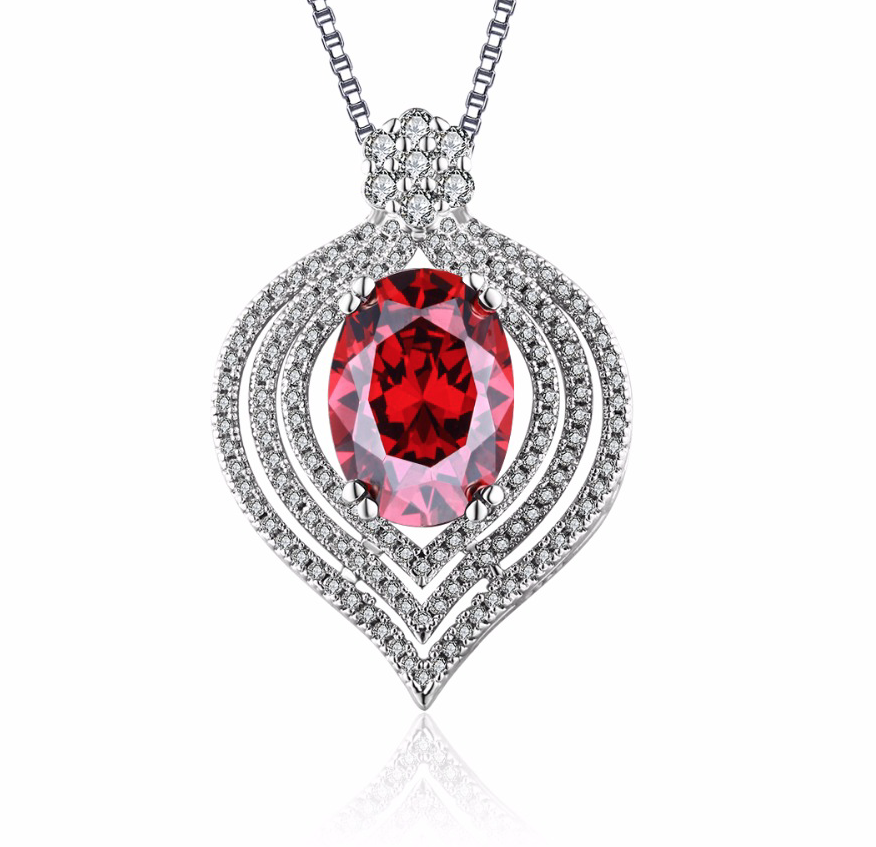 Heart Ruby Jewelry Silver Filled Vintage Necklaces & Pendants - Chic128