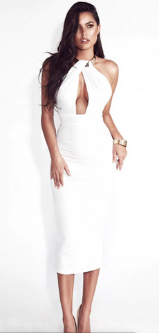 Hollow Out Party Body-con Bandage Dress - Chic128