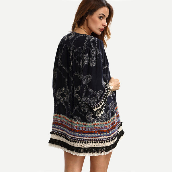 Women's Multicolor Print Fringe Pom-pom Decorated Kimono