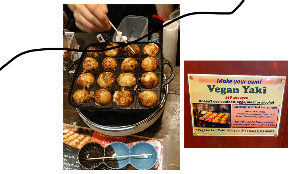 vegan takoyaki at self tacoyaki bar iduco osaka japan