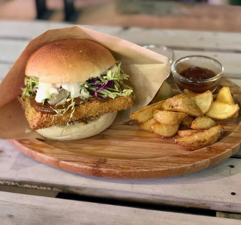 vegan miso cutlet burger with fries at tami's chatan okinawa japan