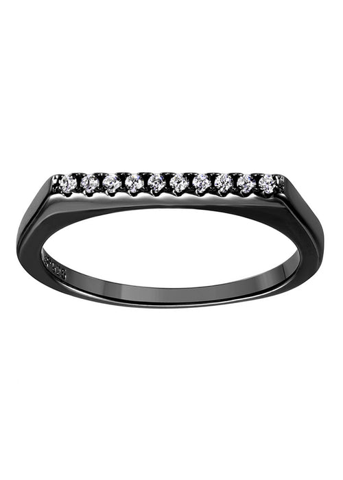 Dainty CZ Crystal Black Bar Stackable Ring