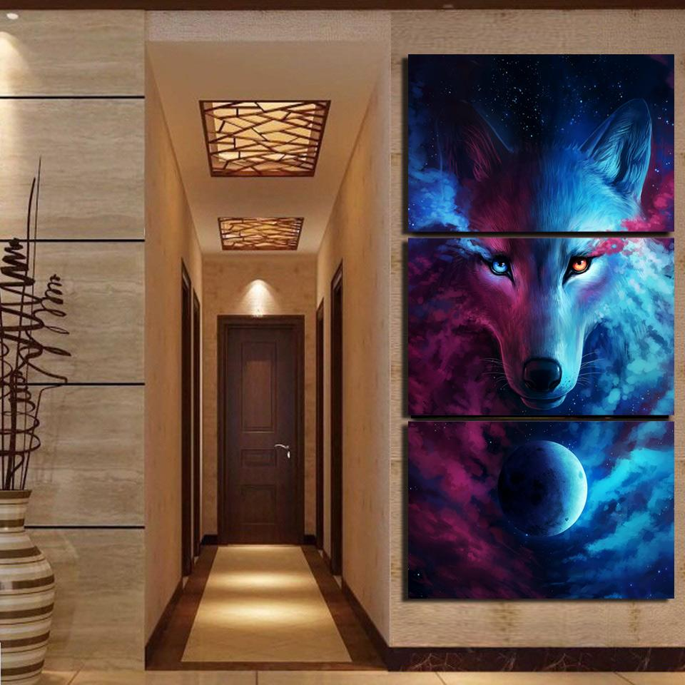 Where Light And Dark Meet by JoJoesArt 3-Piece Wolf Canvas Painting