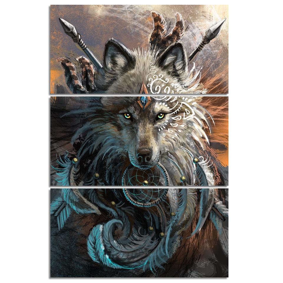Wolf Warrior by SunimaArt 3-Piece Canvas Painting