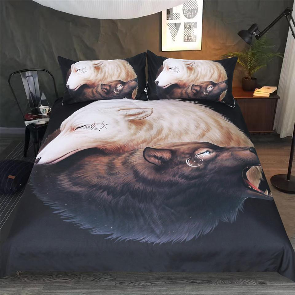 Yin and Yang Wolves by JoJoesArt Bedding Set