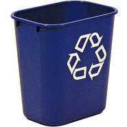 "RUBBERMAID RECYCLING GREEN CONTAINER 13-5/8qt W/""WE RECYCLE"" IMPRINT"