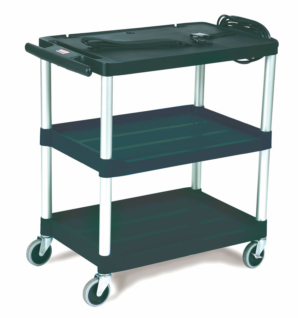 "AUDIO-VISUAL OPEN CART, 3 SHELVES/3"" CASTERS BLACK"