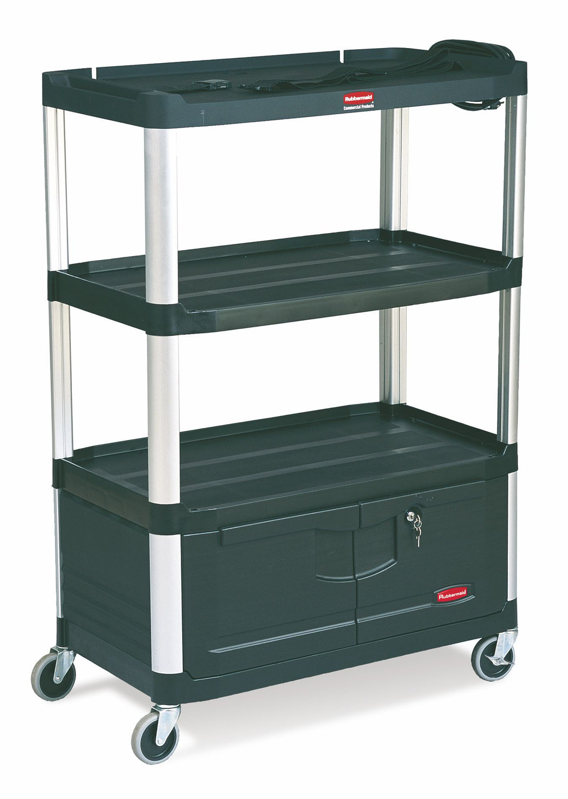 "AUDIO-VISUAL CART 4-SHELVES W/CABINET &CASTERS 36½x20x48"" BLACK"