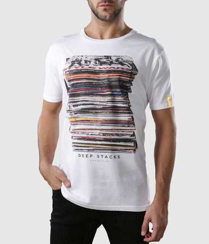 Deep Stacks Organic Cotton T-Shirt White