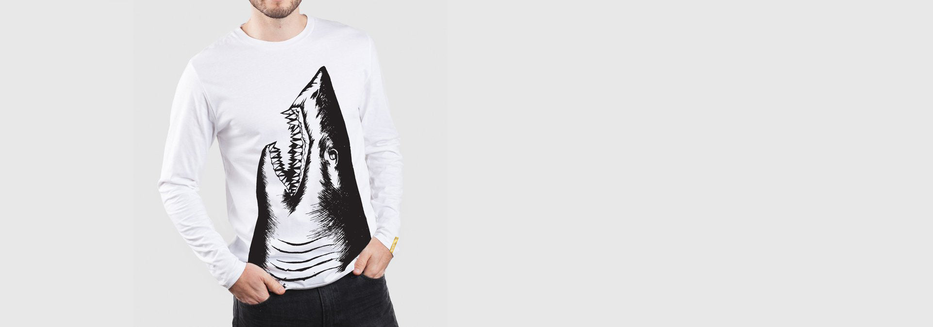 Shark L/S T-Shirt White