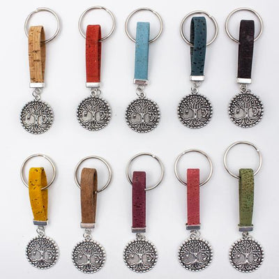 Cork Tree Pendant Keyring Set 10 Assorted - Issara Fairtrade
