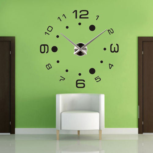 DIY Large Wall Clock 3D Black Dot Stickers Modern Art Watch