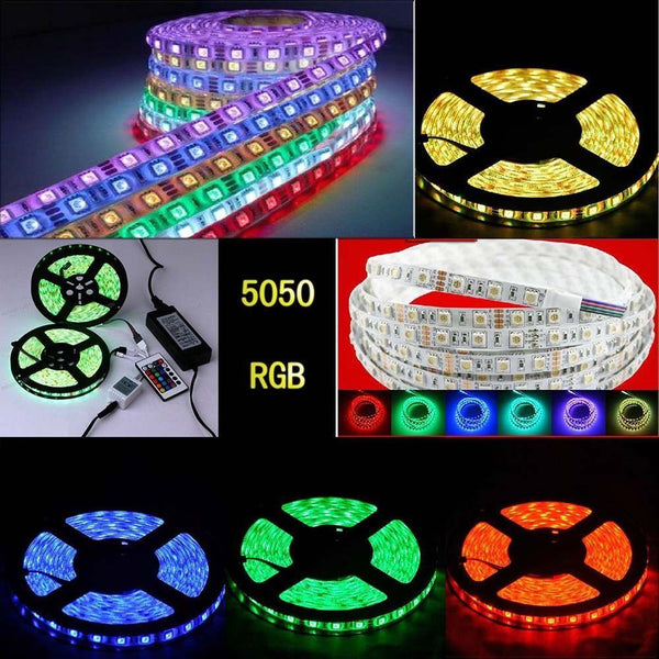 5M RGB 5050 SMD 60LEDS/M 300LED Light Strip Flexible+IR Remote +power,waterproof
