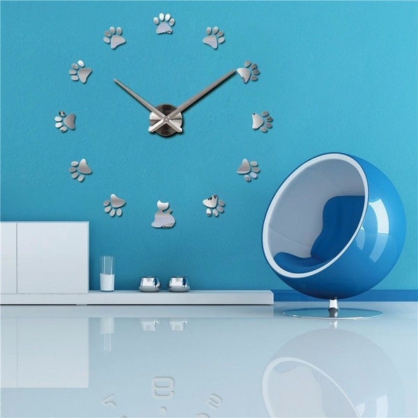 DIY Large Wall Clock 3D Cats Stickers Modern Art Watch  12S017