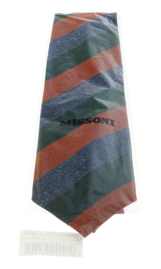Missoni U5120 Green/Orange Awning 100% Silk Tie