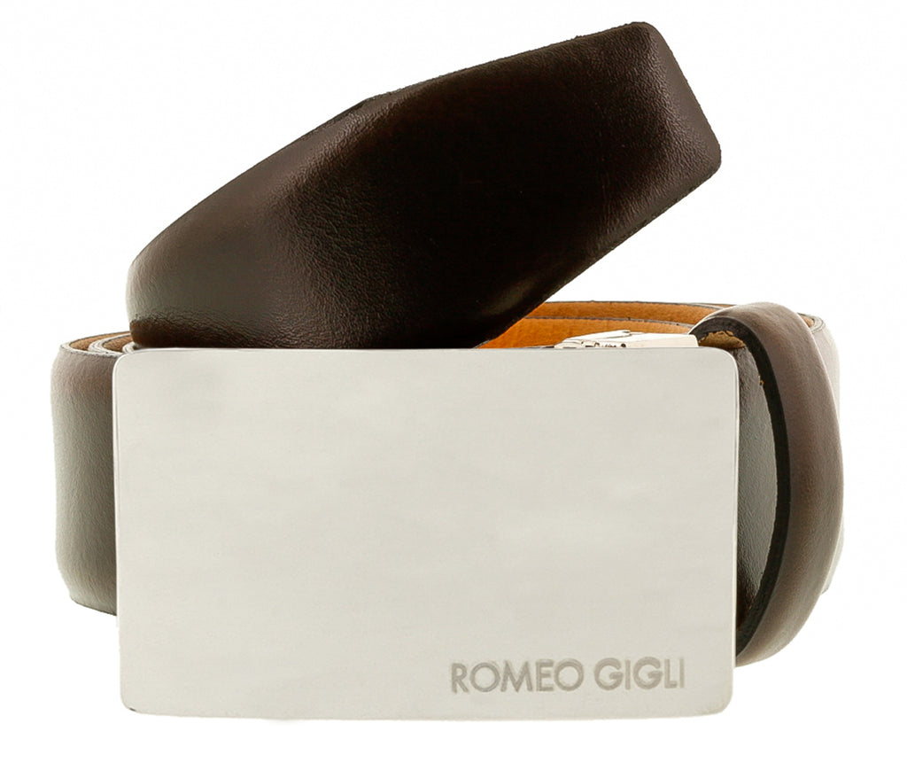 Romeo Gigli C838/35S T.MORO  Dark Brown Leather Adjustable Mens Belt
