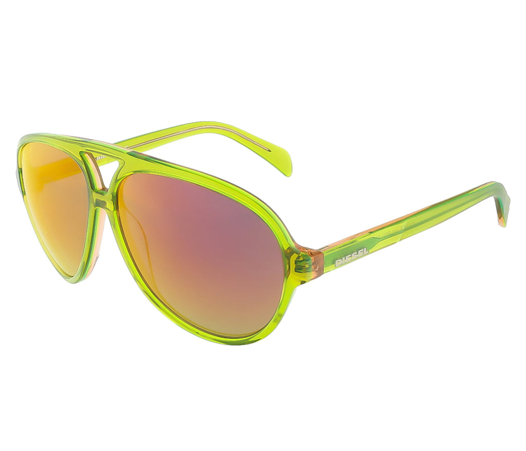Diesel  Translucent Lime Green Teardrop Aviator sunglasses
