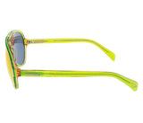 Diesel DL0075/S 95U Translucent Lime Green Teardrop Aviator sunglasses