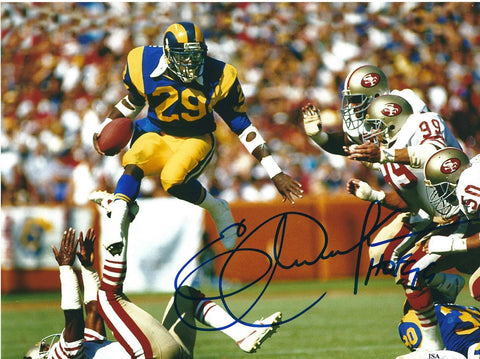 Eric Dickerson Autographed Los Angeles Rams 8x10 Photo W/ HOF- JSA