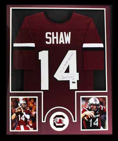 "Connor Shaw Signed South Carolina Framed Custom Jersey With ""17-0 Home Record"" Inscription"