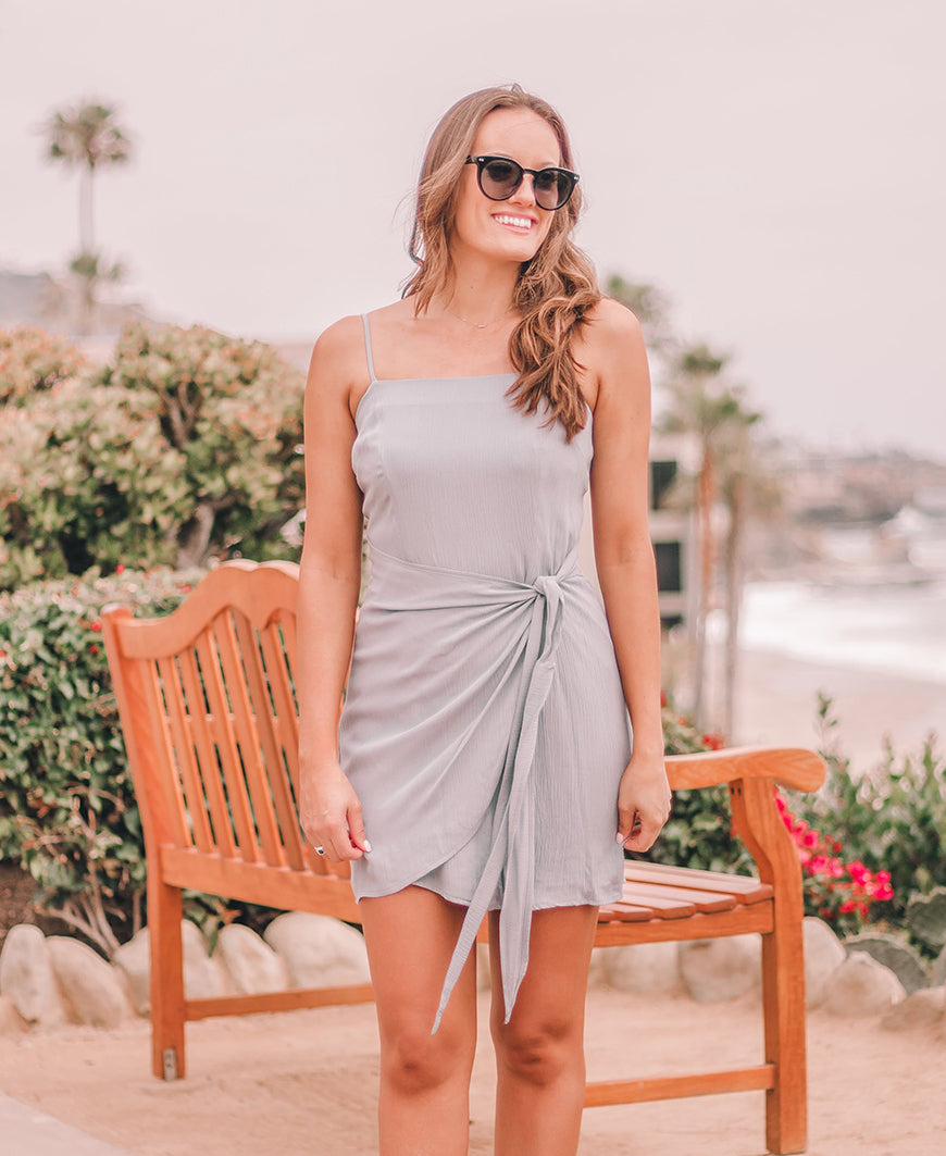 Silver Vacay Wrap Mini Dress (14830-55)