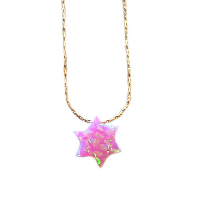 Collier Etoile de David opale rose - Goldfield