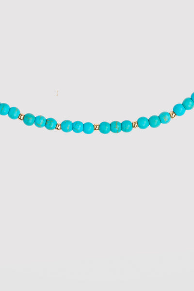 BUBBLE BEAD STRAND ANKLET - TURQUOISE