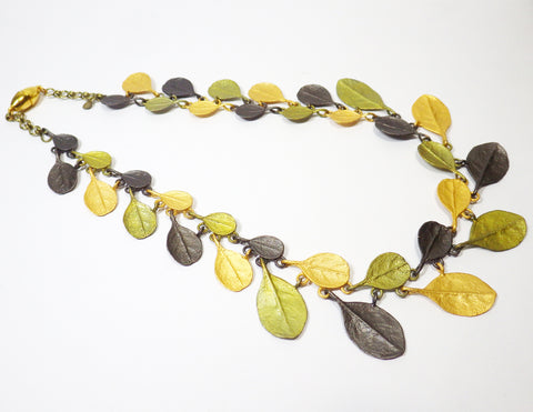 'Bahamian Bay' - Patinated, Gold Plated & Gun Metal Plated - Bronze Necklace