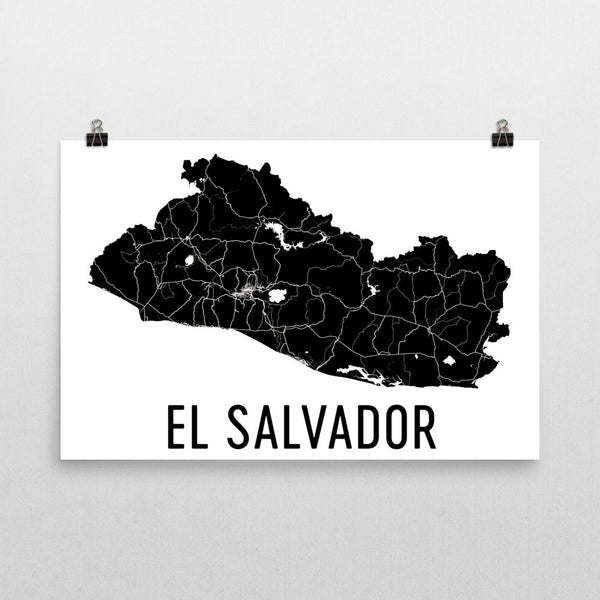El Salvador Wall Map Print - Modern Map Art