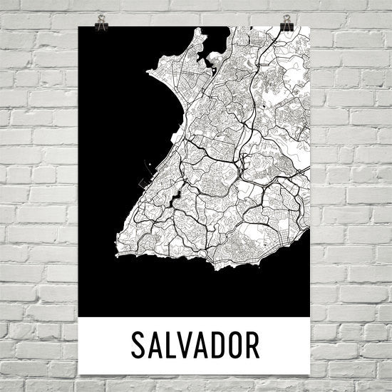 Salvador Street Map Poster White